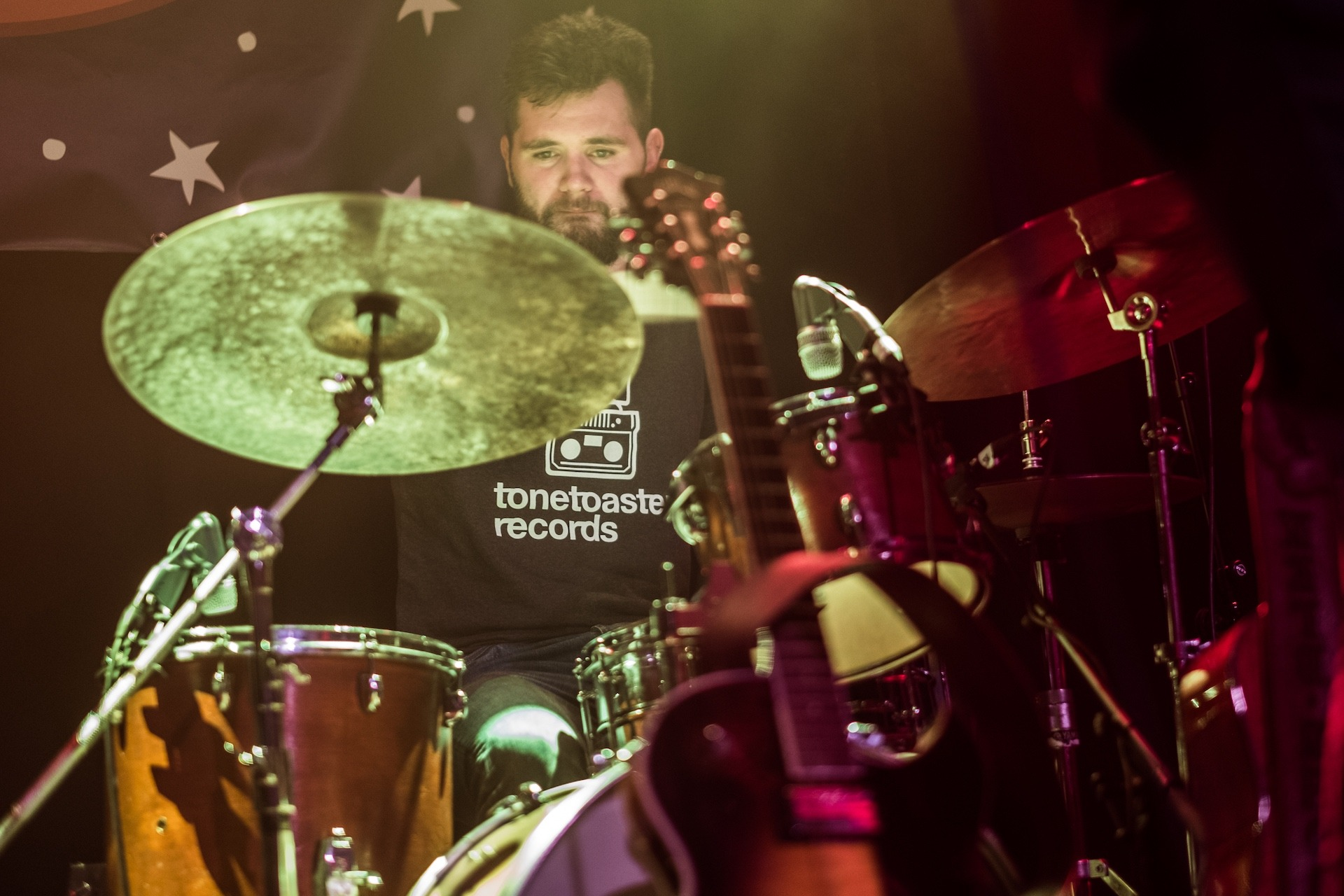 Cian O Sullivan, drums, tonetoaster records t-shirt, Static Roots Festival