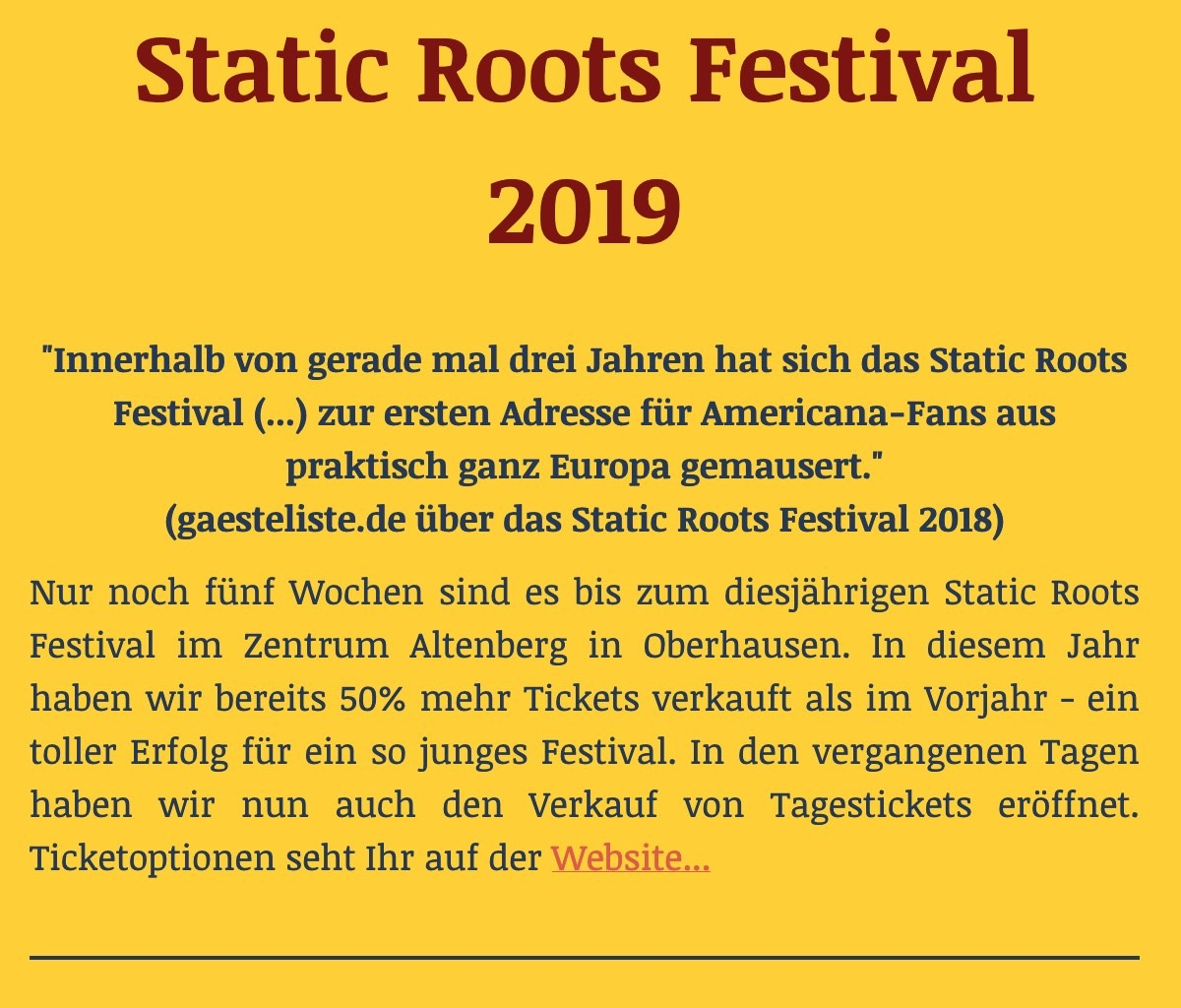 Static Roots Festival 2019 Newsletter #2