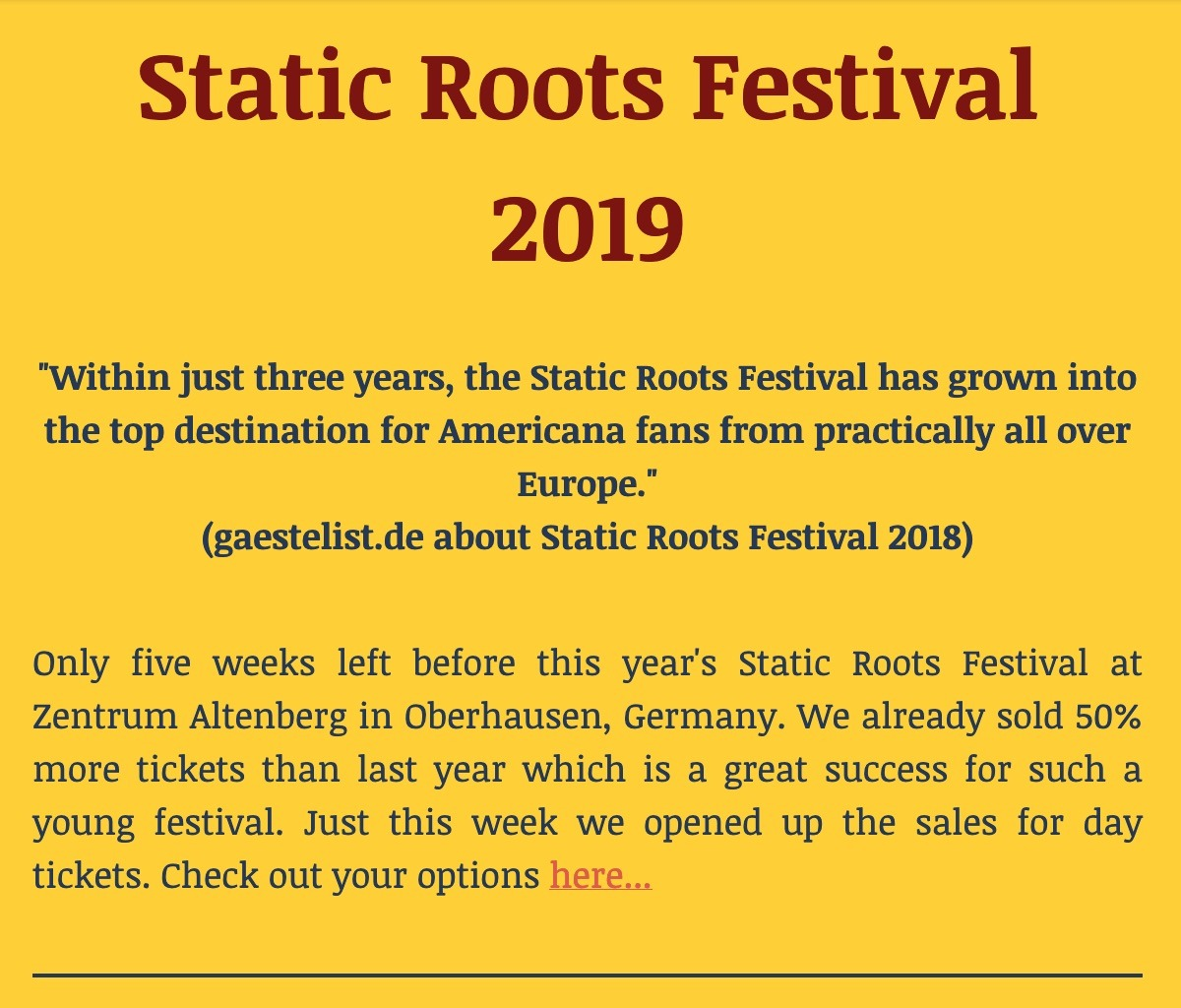 Static Roots Festival 2019 - Newsletter #2 english