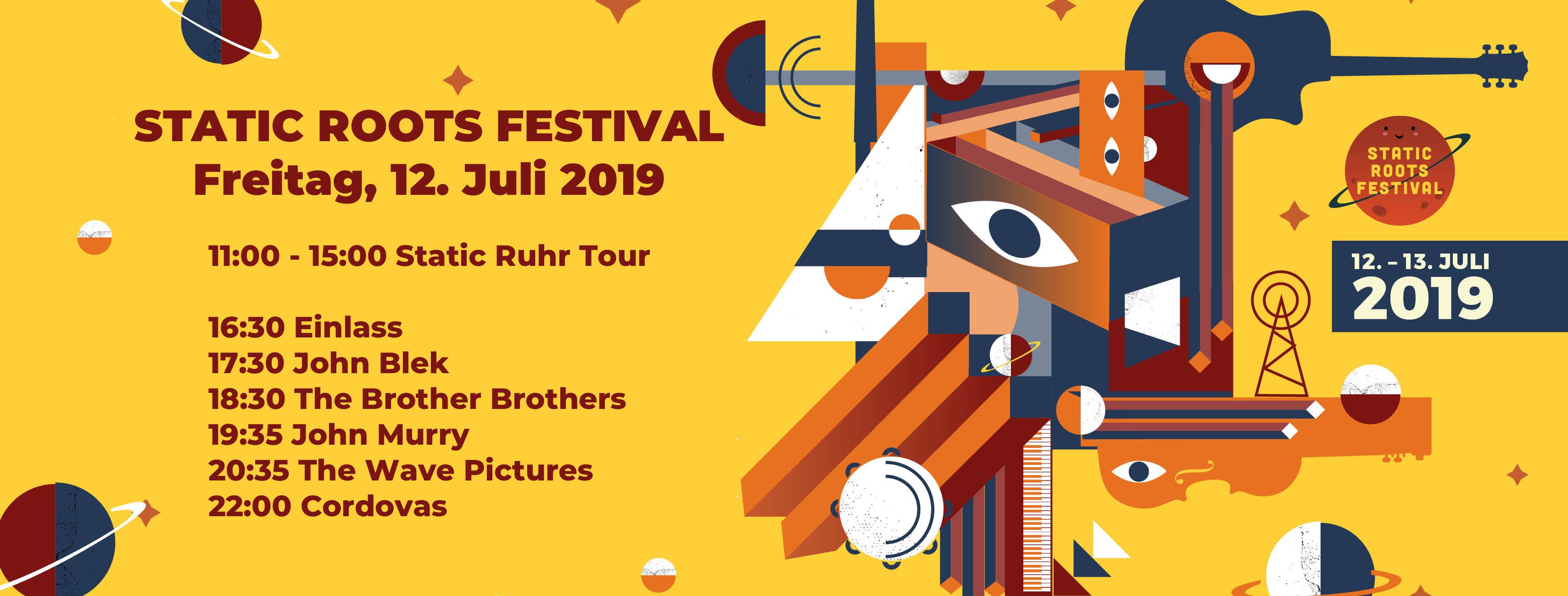 Zeitplan für das Static Roots Festival 2019 / Freitag, 12.07.2019